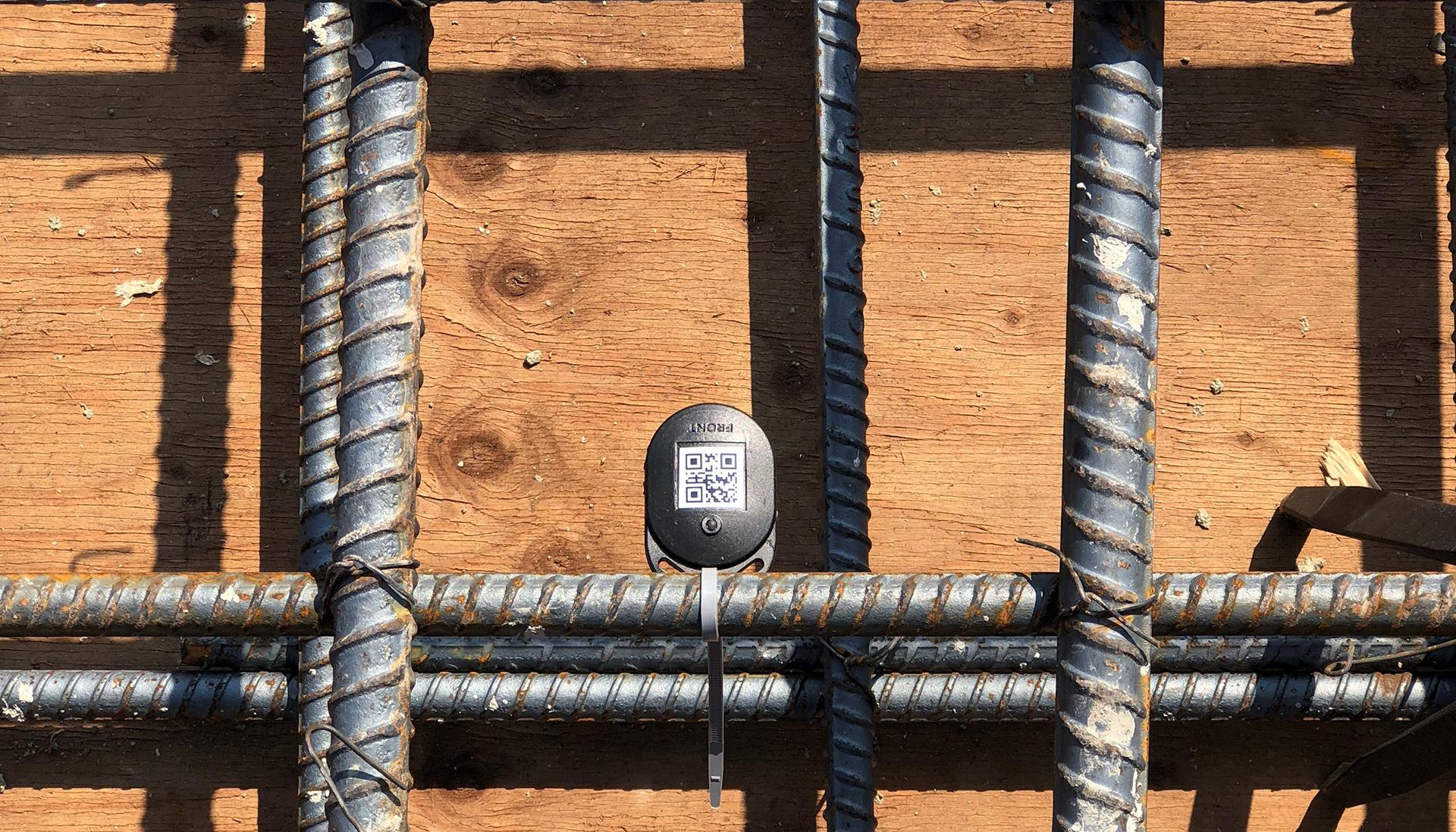 A sensor installed prior to concrete pouring.